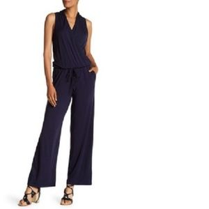 Max Studio Sleeveless Wide Leg Jumpsuit Navy Blue